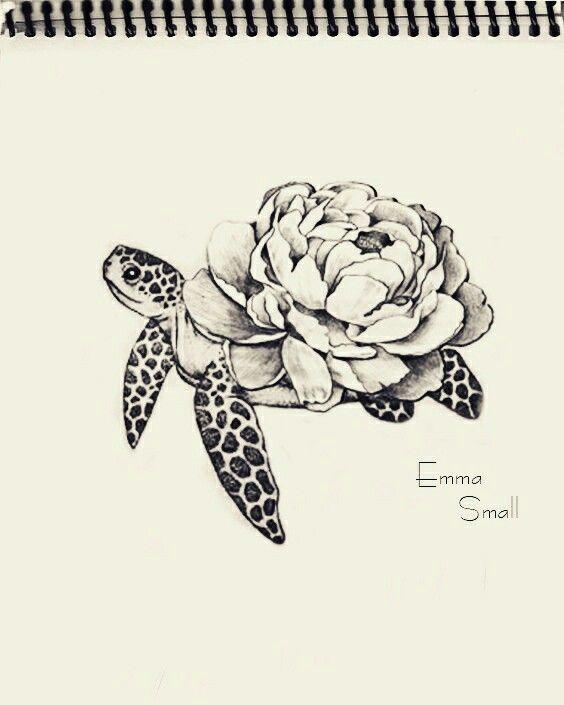 tattoo sketch flowers turtle by emma small emmasmall pinteres. Black Bedroom Furniture Sets. Home Design Ideas