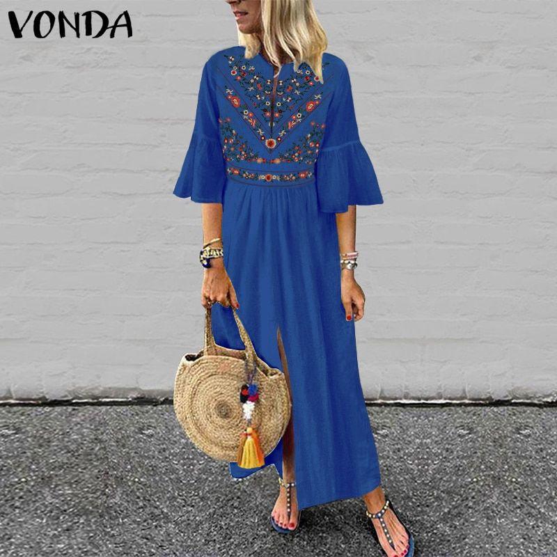 3892078fd0e3c Bohemian Women Vintage Print Dress 2019 VONDA Sexy V Neck Ruffle ...