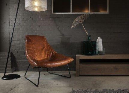 Leren fauteuil beal: jess design ruw ruig natuurlijk en stoer in