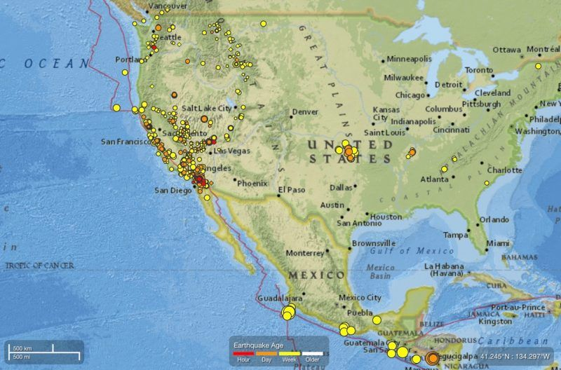California is an earthquake prone region note the time bar on the note the time bar on the bottom of this map these are moderate and small earthquake occurring over the past week via usgs page of recent gumiabroncs Choice Image