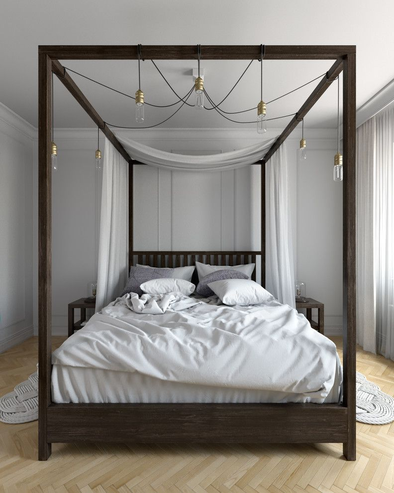 four poster bed idea - Dark Wood Canopy Interior