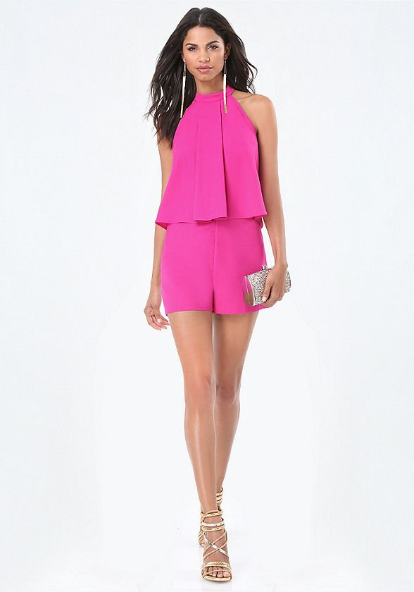 042eaf1ea31 Style-star crepe romper in a playful halter design with stunning pleated  overlay. Front slash pockets. Back hook-and-eye and goldtone zip closure.