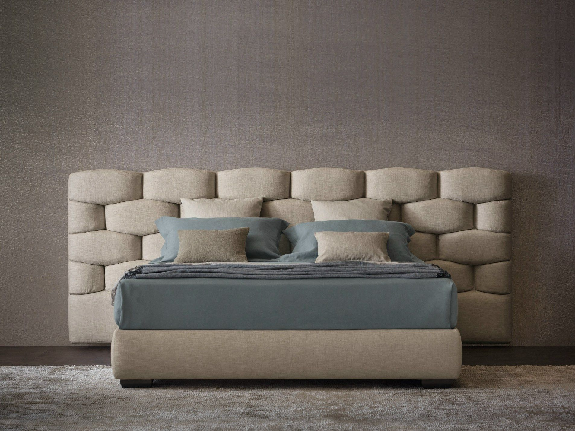 MAJAL | Bed With Upholstered Headboard By Flou | Design Carlo Colombo
