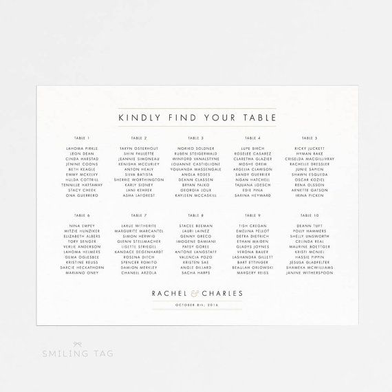 Printable Seating Chart Poster - Wedding Seat Chart PDF Download - printable seating charts
