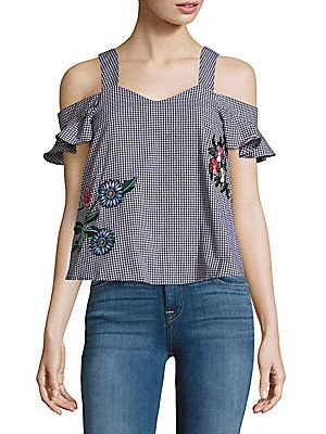 2b9010c1879db3 Saks Fifth Avenue RED Gingham-Check Cold-Shoulder Top