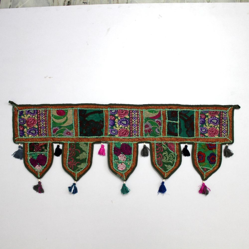 Vintage door valance toran indian art wall hanging embroidered home