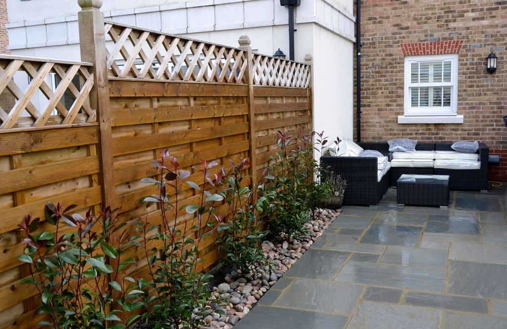 Outdoor patio ideas modern low maintenace patio paving indian sandstone london garden small - Garden ideas london ...