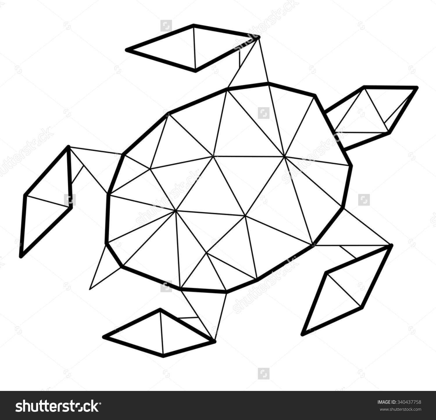 shapes turtle coloring pages - photo#33