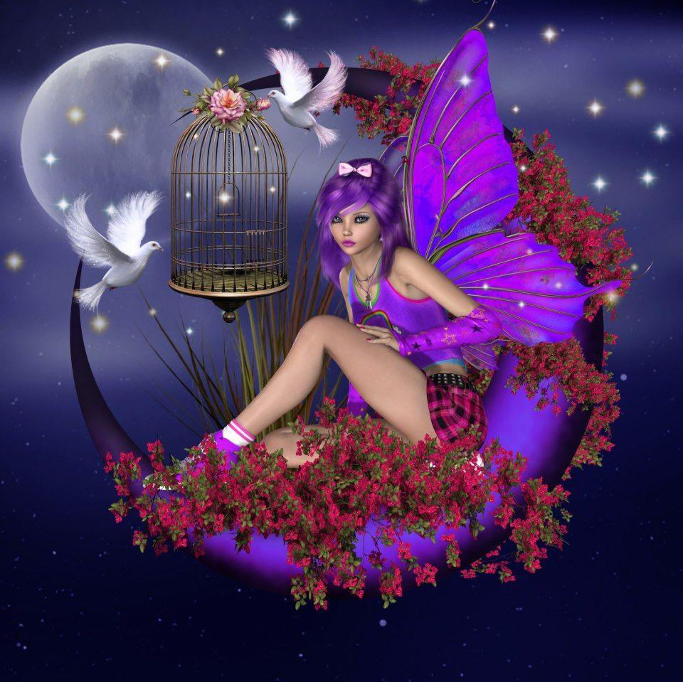 Angel In Purple Moon Fairy Wallpaper Moon Fairy Beautiful Fairies