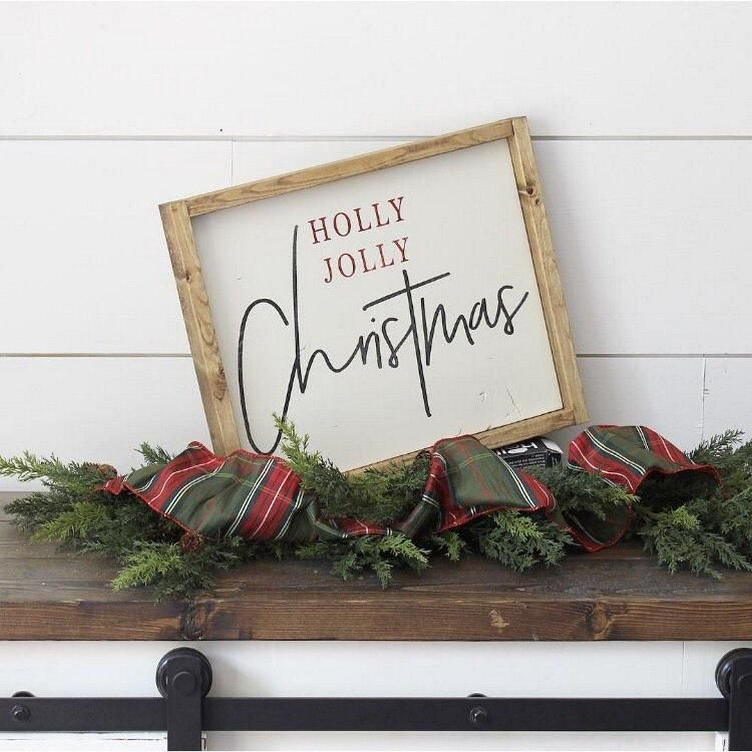 32 Frohe Weihnachten gerahmt Holz Zeichen   – Christmas Decorations