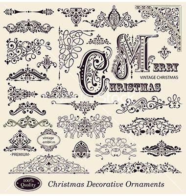 Elegant Victorian Letterhead Flourishes Vector Image On Vectorstock Vintage Christmas Ornaments Vintage Christmas Vintage Ornaments