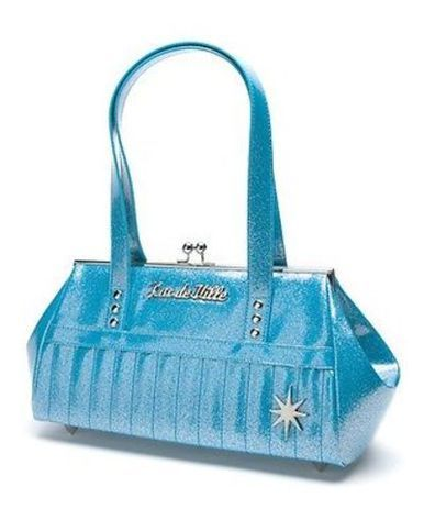 LUX DE VILLE STARLITE KISS LOCK BLUE SPARKLE PUNK ROCKER GOTH HANDBAG PURSE BAG