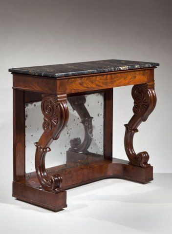 Restauration Carved Mahogany Marble-Top Pier Table Boston or Salem, Mass., 1830-1840