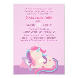 Sleeping Baby Unicorn Baby Shower Invitation Zazzle Friends