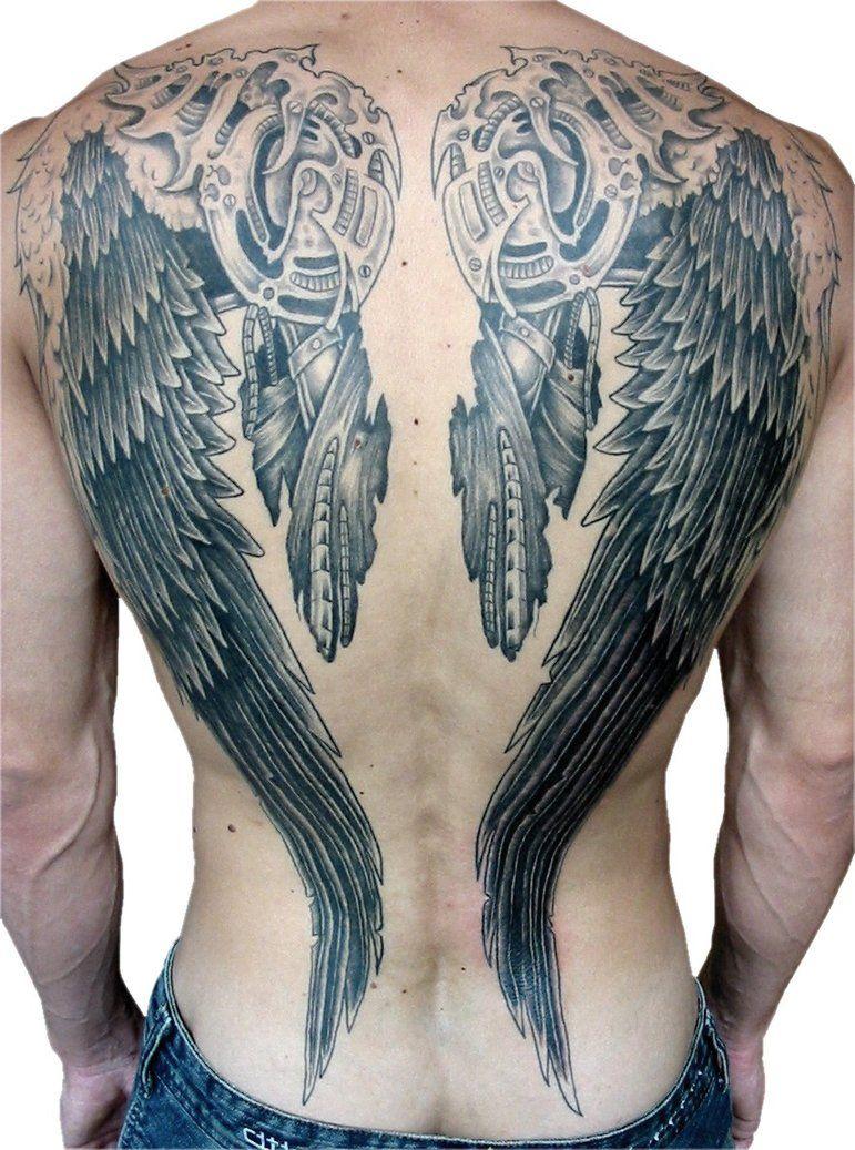 Sweet Robot Looking Wings Back Tattoo Tatouage Tatouage Dos
