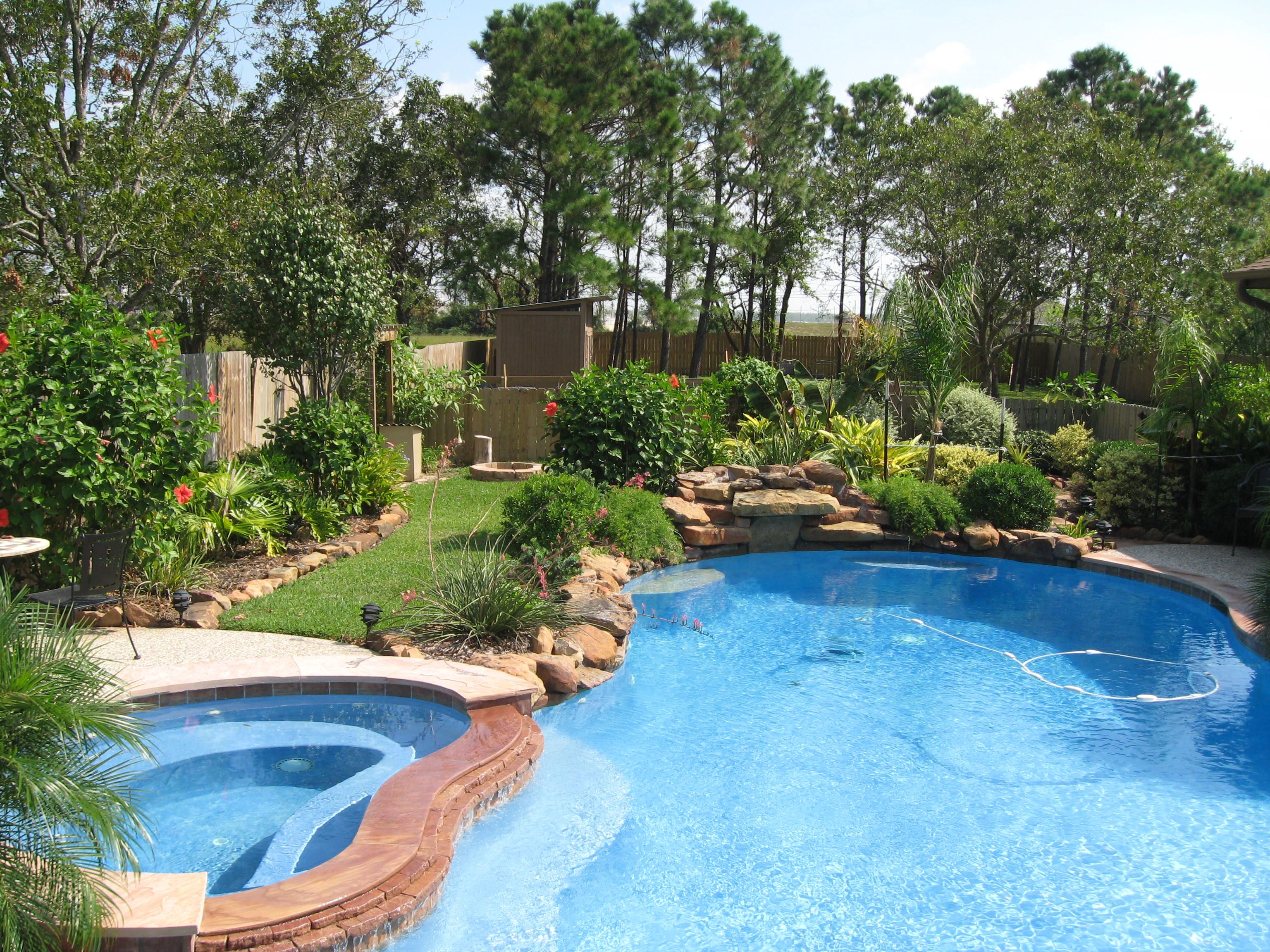 Landscaping around a pool plants that require more water for Flowers around swimming pool