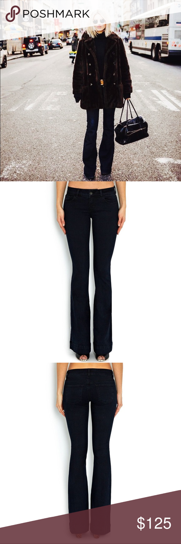 """J Brand Love Story Bell Bottom Black Jeans J Brand Black Love Story Bell Bottom Jeans, slim fit Low Rise, 22""""leg opening, narrow through the knee. Size 29. Inseam 34. 9.5"""" rise, Classic 5 pocket styling Zip fly Cotton/Spandex Made in USA Retails for $198 J Brand Jeans Flare & Wide Leg"""
