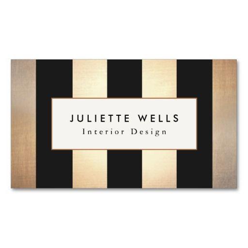 Elegant Gold And Black Stripes Interior Designer Business Card Carte De Visite Carte Visite