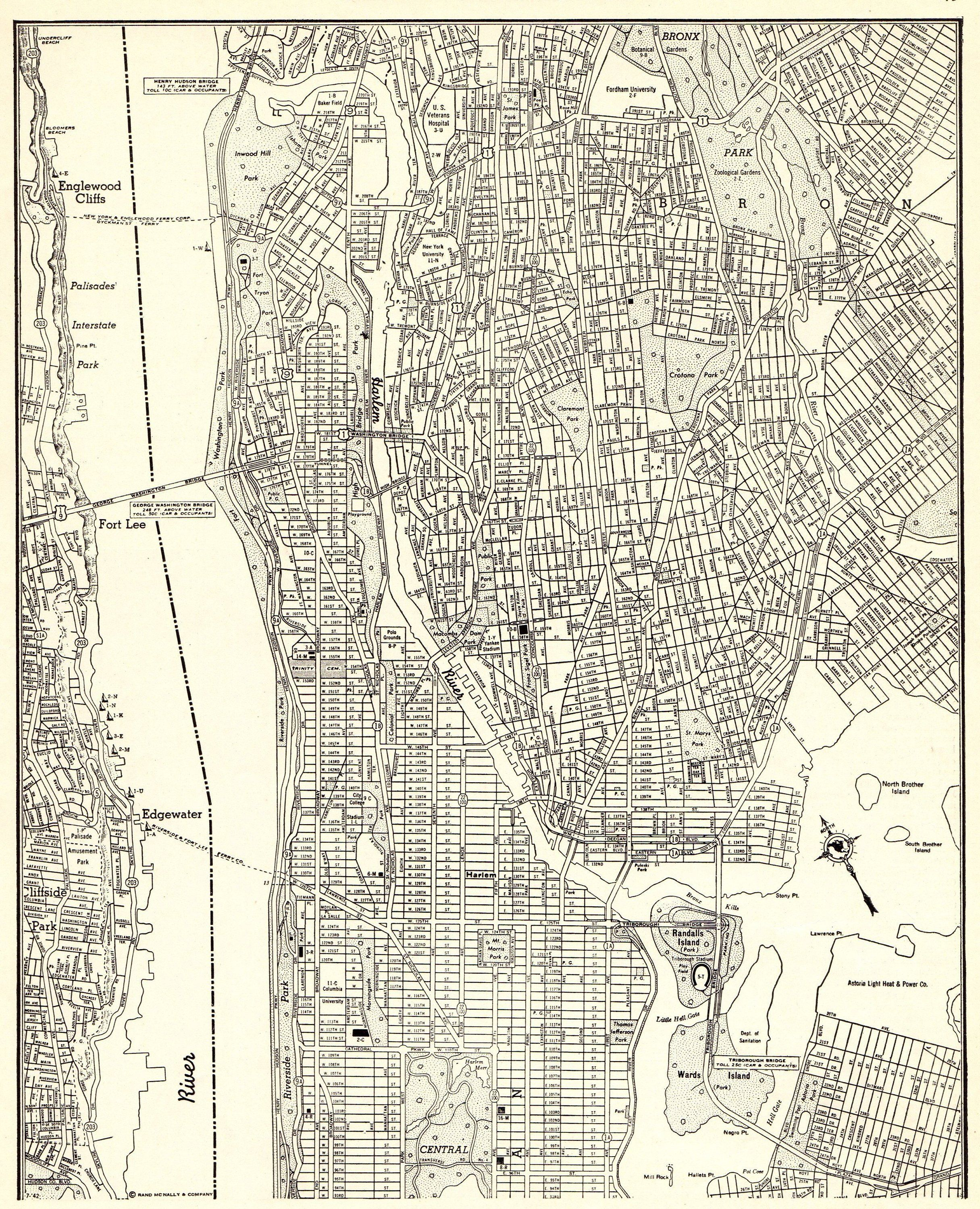 1943 Antique Manhattan Map Vintage New York City Map The Bronx Map Black And White Map Gallery Wall Art Gift Fo Map Of New York New York City Map Manhattan Map