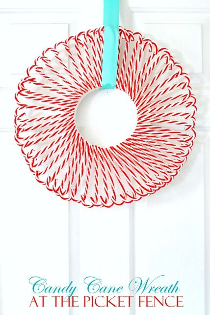 Three Dollar Tree Wreaths  Candy Cane Wreath Candy Canes And Wreaths