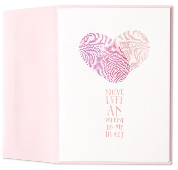 Two fingerprints create the shape of a heart on this Valentine's Day card. From Marcel Schurman, each card is letterpress printed on 100% cotton rag paper.