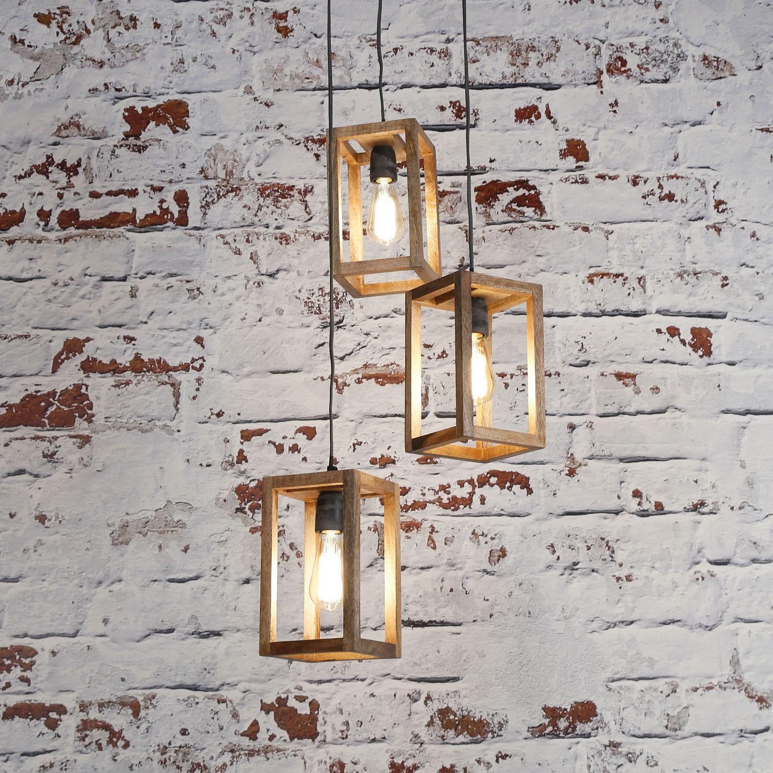 Hanglamp Thelma 3 Lamps Kroonluchter Diy Hanglamp Houten Lamp