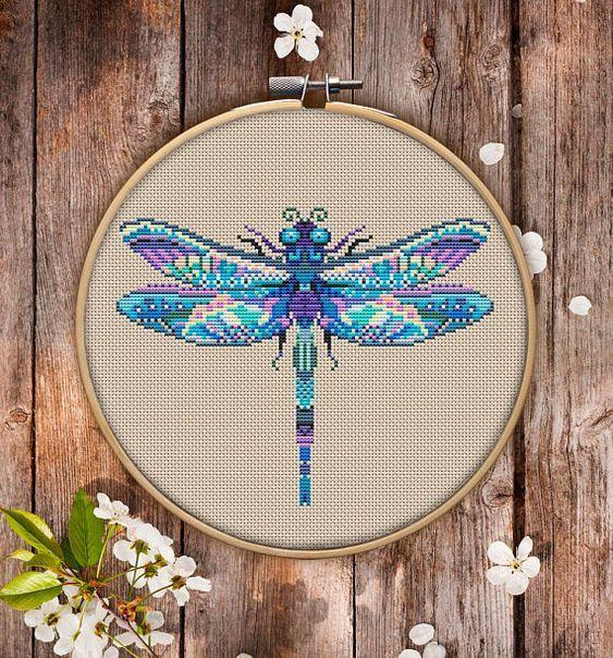 Mandala Dragonfly Cross Stitch Embroidery Pattern Download  Stitching  Needlepoint  Cross Stitch Embroidery  Cross Designscross