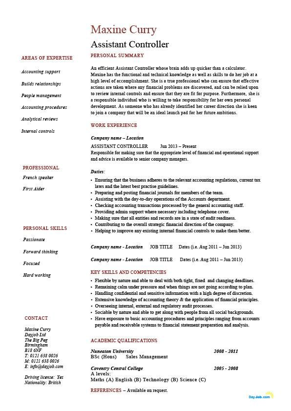 assistant controller resume sample example accounting finance job - resume sample example