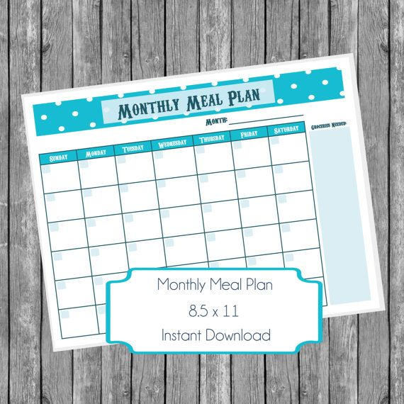 Monthly Meal Planner Printable Teal White Polka Dot Fill Meal