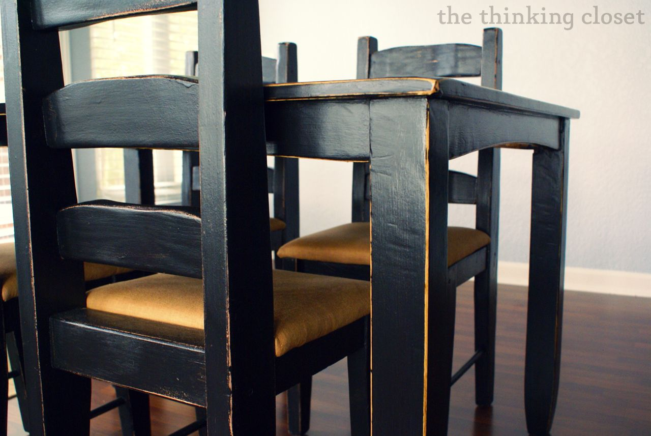 Amazing Black Distressed Table Makeover   The Thinking Closet