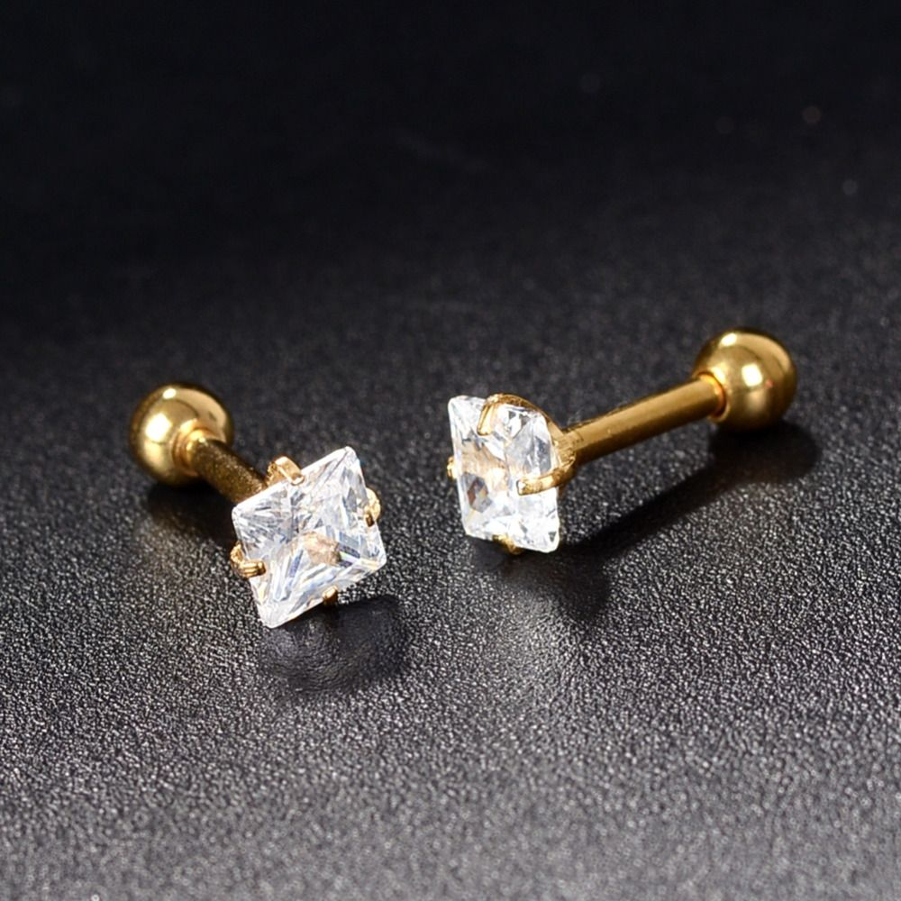 3mm 6mm Stainless Steel Stud Earrings Square Asscher Cut Cz Cubic Zirconia  Four Prong Body
