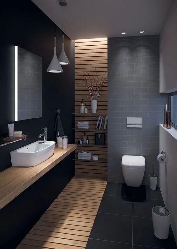 Black Bathroom Ideas For A Stylish Remodel In 2020 Concrete Bathroom Design Bathroom Design Small Modern Bathroom Design