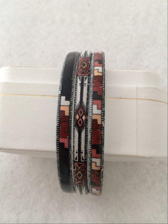 Vintage Slender Michaela Frey Enamel Triple Three Bangle Bracelets Art Deco Design White Black Brick Colors