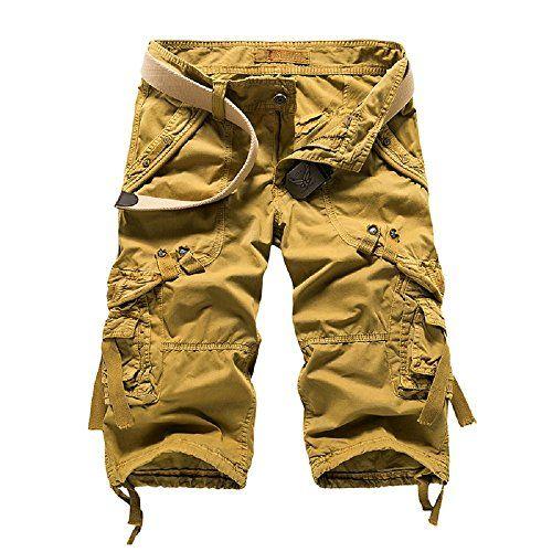 e5c7c8b3c7 Yin Chen Mens Casual Slim Fit Cotton Solid Multi-Pocket Cargo Shorts,1-khaki,Size  34