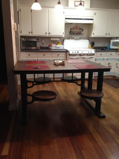 cafeteria table with stools - Google Search