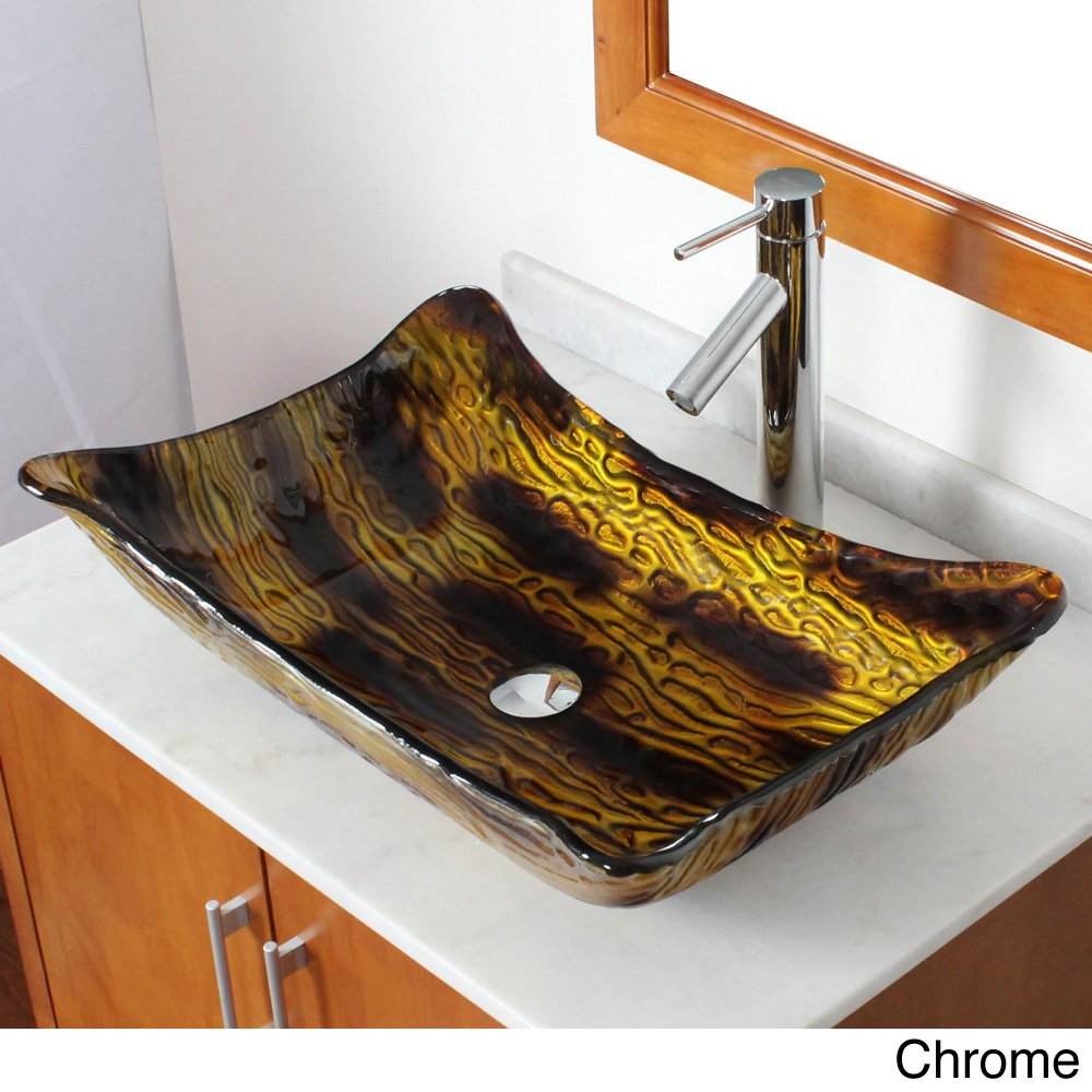 Elite 107e2659 Modern Design Tempered Glass Bathroom Vessel Sink