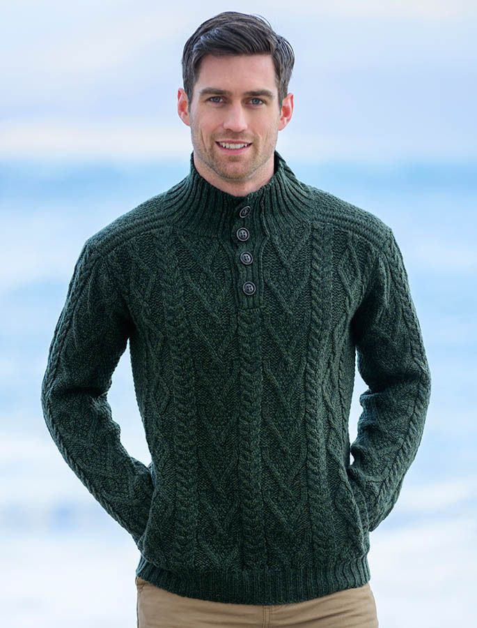 Wool Sweater for Men, Cable Knit Sweater Men, Irish Sweaters | Knit ...