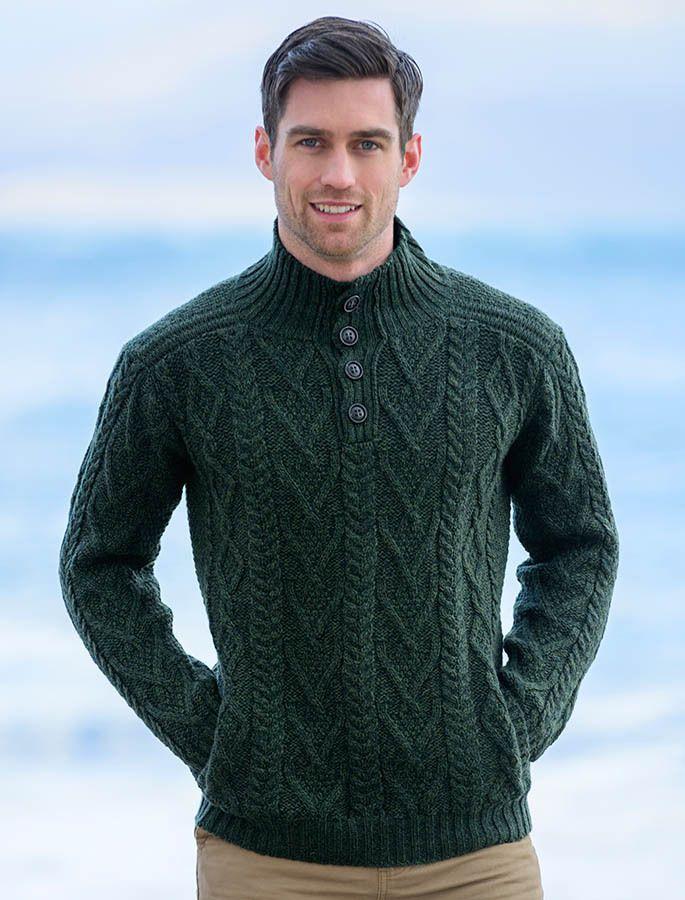 Buttoned Merino Wool Sweater Knitwear Men Mens Knit Sweater