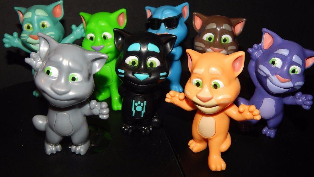 Mcdonald S Toys Talking Tom Set Of 8 Cats Black Blue Peach White