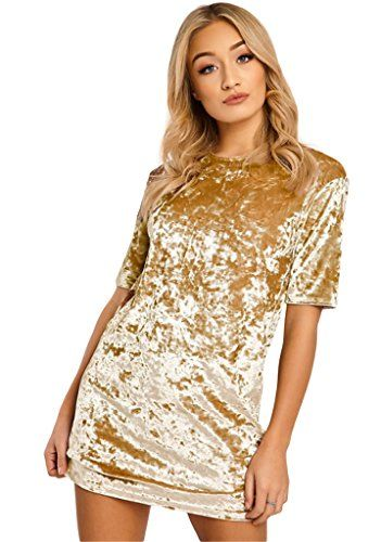 HIKARE Womens Vintage Velvet Short Sleeve Casual Mini T Shirt Dress Golden  Yellow Size S     Check this awesome product by going to the link at the… c492cb48a