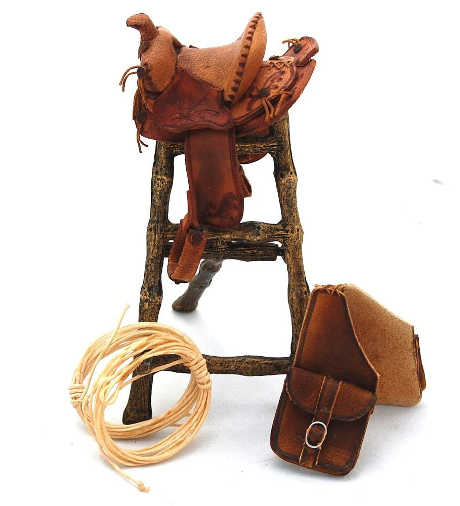 Vtg Dollhouse Miniature Western Leather Horse Saddle Bags Rope 1 12 Artisan Sgn Miniature Western Saddle Saddle Bags Horse Western Leather Horse Saddles