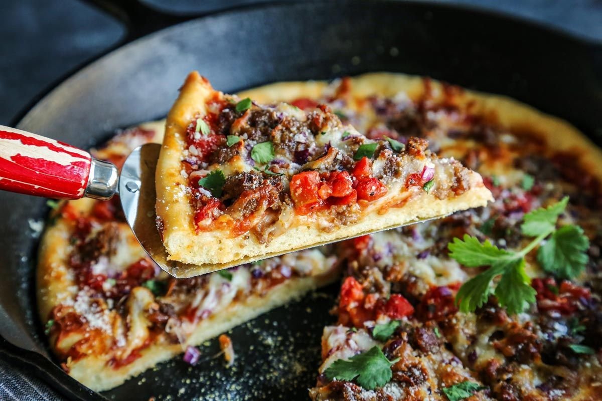 Skillet Pizza With Sausage And Chili Garlic Tomato Sauce Recipe Skillet Pizza Tomato Sauce Recipe Garlic Tomato Sauce Recipe