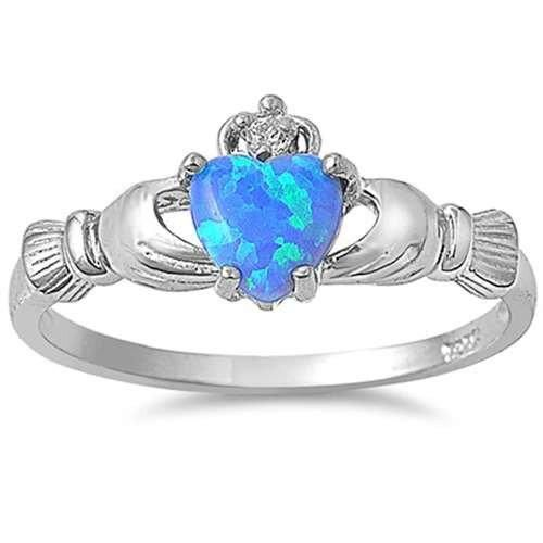 Sterling Silver Rainbow Topaz CZ Heart Ring Love Band 925 Sizes 3-12