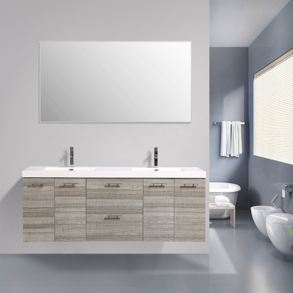 Eviva Luxury 84 Inch Ash Bathroom Vanity With Integrated Acrylic Sinks With Images Modern Bathroom Vanity Bathroom Vanity Vanity