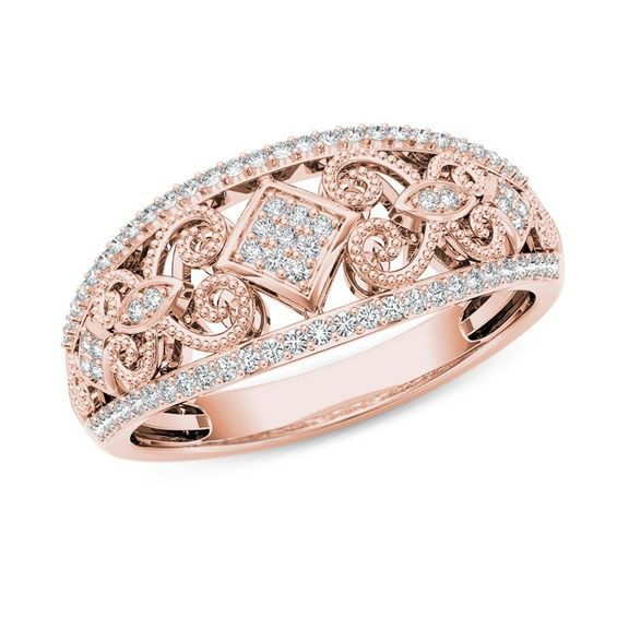 1 5 Ct T W Composite Diamond Vintage Style Tilted Square Filigree Ring In 10k Rose Gold Vintage Diamond Fashion Rings Filigree Ring