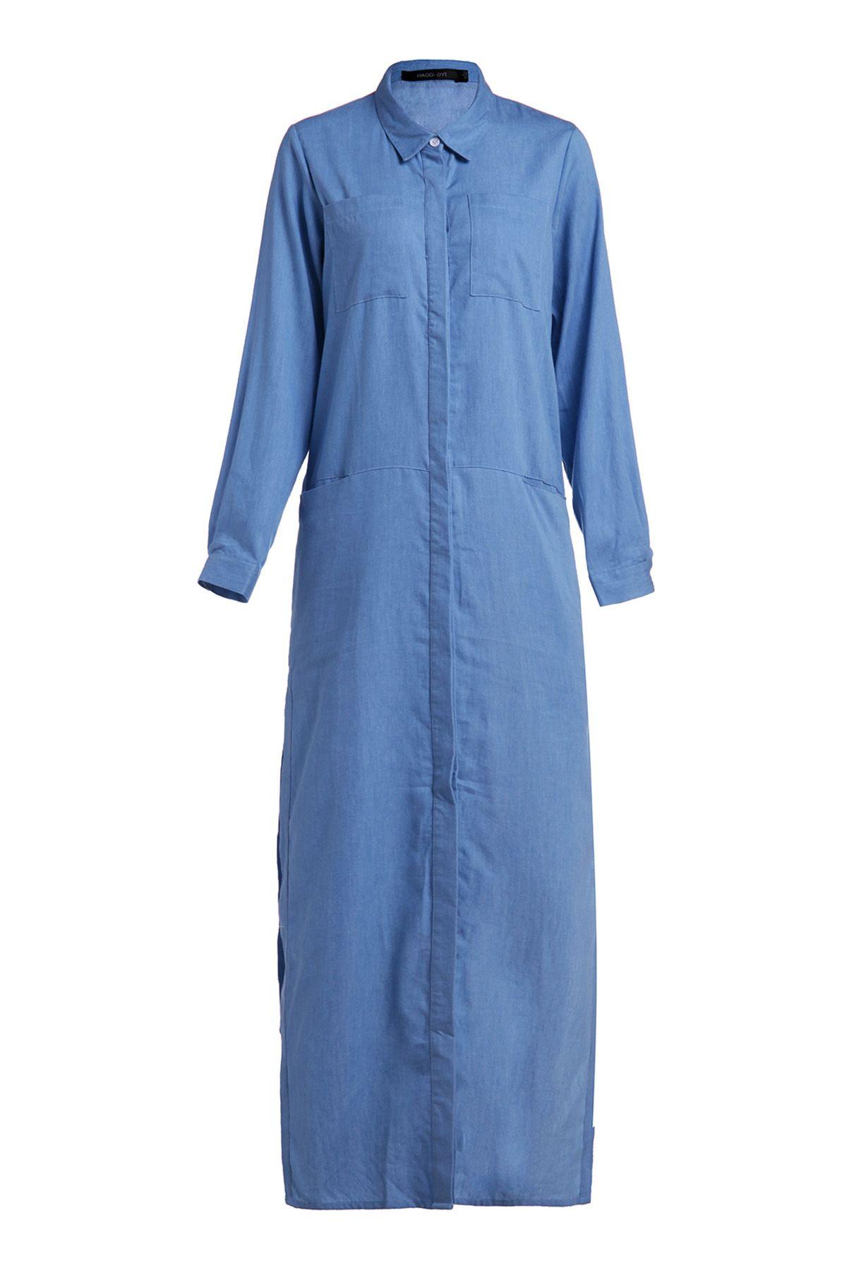 Denim long sleeve maxi shirt dress long sleeve maxi blue denim