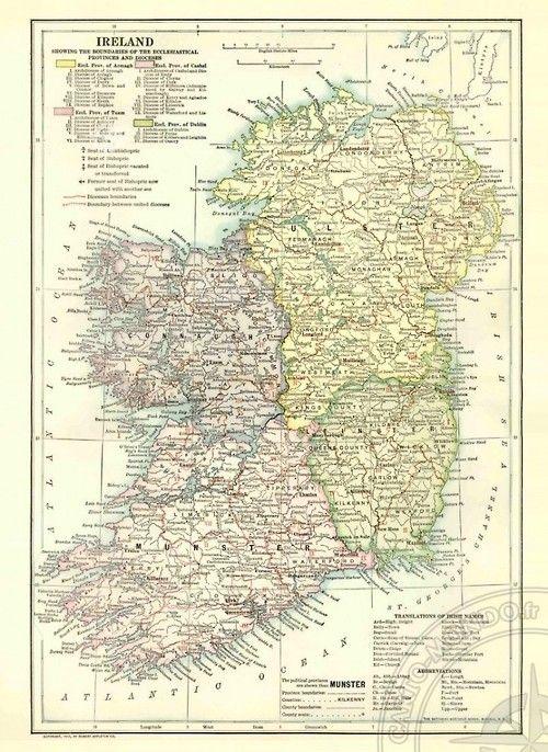 Map of Ireland 1913 | Modern Cartographer | Map, Vintage world maps ...