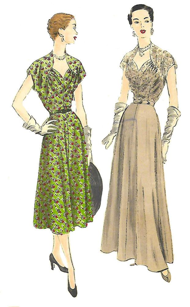 Vintage 1950\'s Sewing Pattern Rare Vogue Exquisite Elegant Evening ...