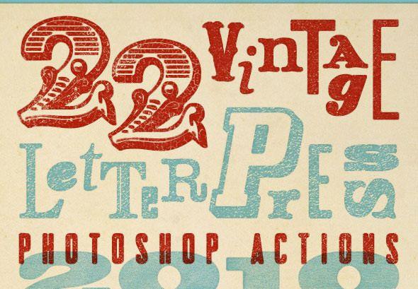 22 Vintage Letterpress Photoshop Actions ($6)