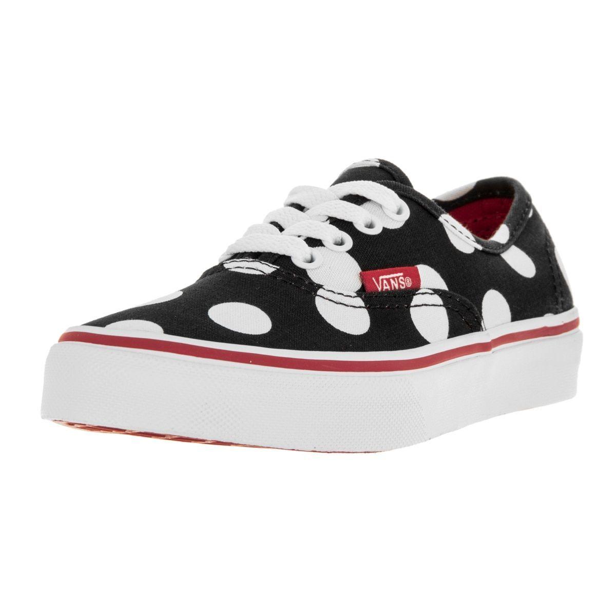 8ec062ab3b Vans Kids Black Red White Canvas Polka Dot Skate Shoe (2)